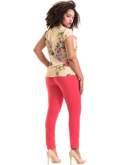 Дамски панталон ZANZI с колан 11107 - тъмно розов E