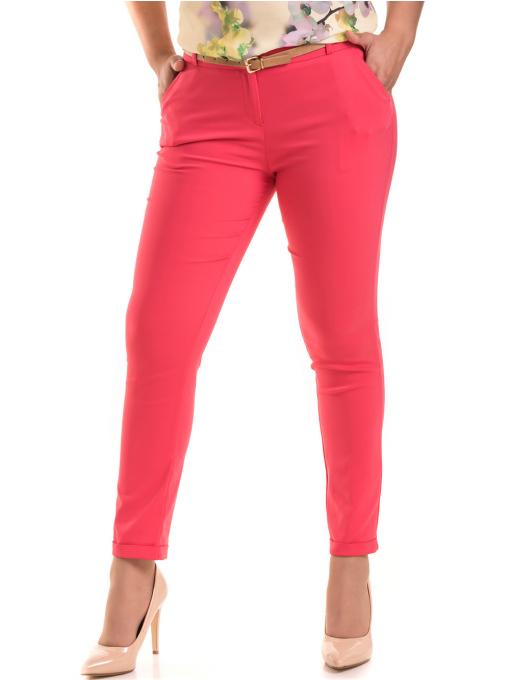 Дамски панталон ZANZI с колан 11107 - тъмно розов