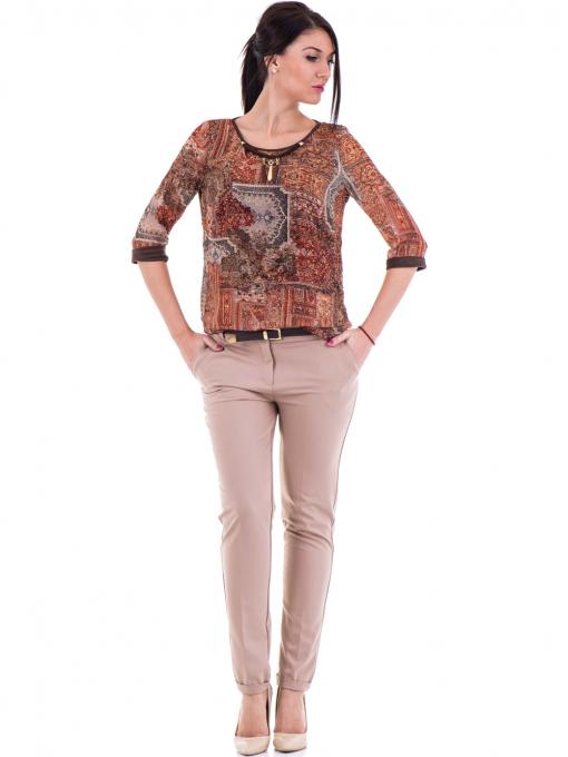 Дамски елегантен панталон ZANZI  с колан 31179 - бежов C