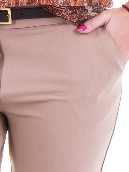 Дамски елегантен панталон ZANZI  с колан 31179 - бежов D