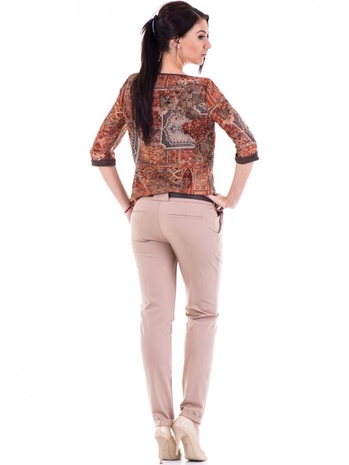 Дамски елегантен панталон ZANZI  с колан 31179 - бежов E