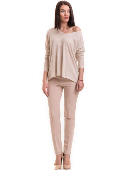 Елегантен дамски панталон ZANZI с колан 41107 - светло бежов C