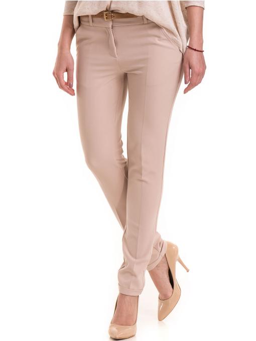 Елегантен дамски панталон ZANZI с колан 41107 - светло бежов