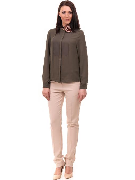 Дамски елегантен панталон ZANZI с колан 51193 - светло бежов C