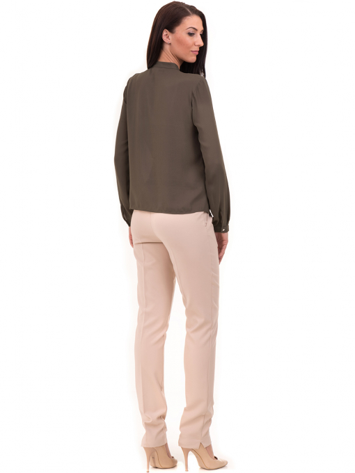 Дамски елегантен панталон ZANZI с колан 51193 - светло бежов E