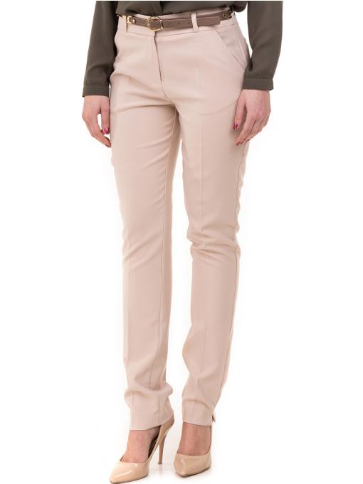 Дамски елегантен панталон ZANZI с колан 51193 - светло бежов