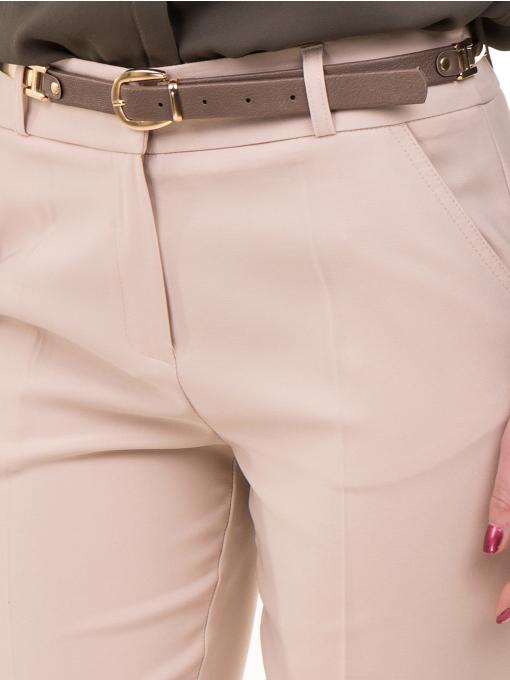 Дамски елегантен панталон ZANZI с колан 51193 - светло бежов D
