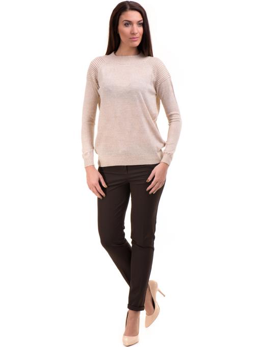 Дамски панталон ZANZI с колан A11107 - цвят кафяв C4