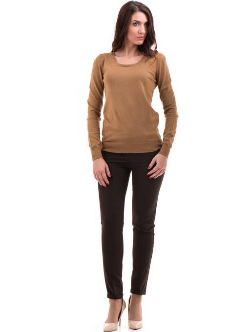 Дамски панталон ZANZI с колан A11107 - цвят кафяв C