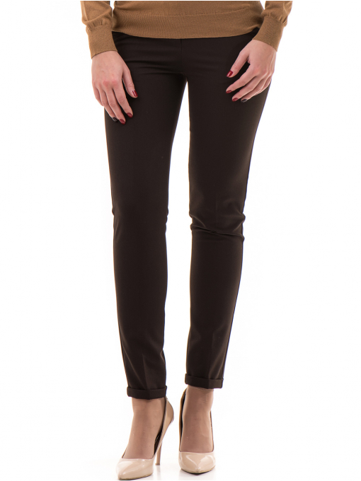 Дамски панталон ZANZI с колан A11107 - цвят кафяв