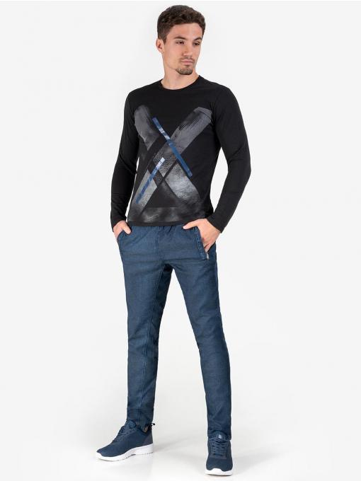 Мъжки дънки с ластик в тъмен деним 11130 INDIGO Fashion