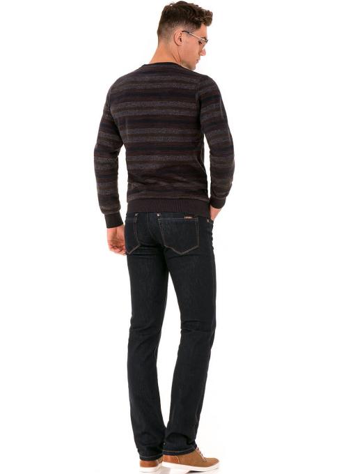 Мъжки класически дънки LACARINO 1981 с колан - тъмен деним E