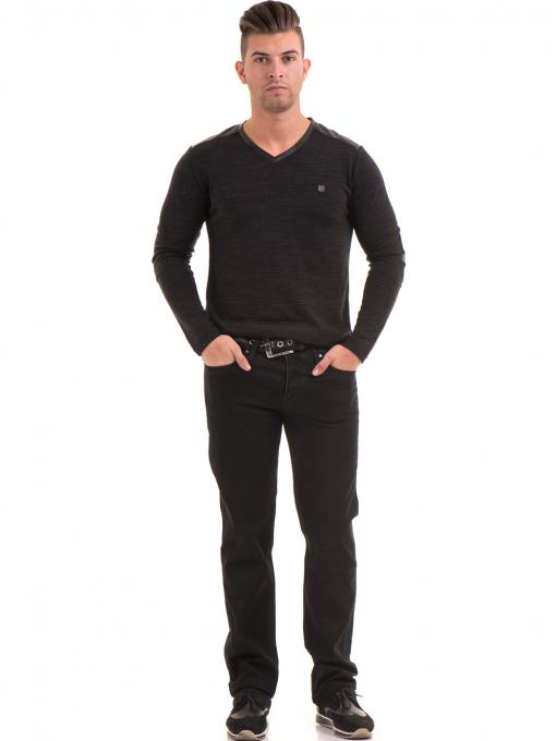 Класически мъжки дънки LACARINO 2085 с колан - черен деним C