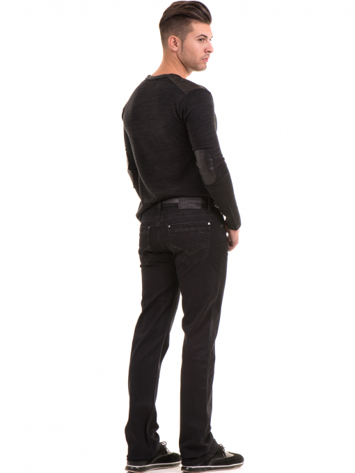 Класически мъжки дънки LACARINO 2085 с колан - черен деним E