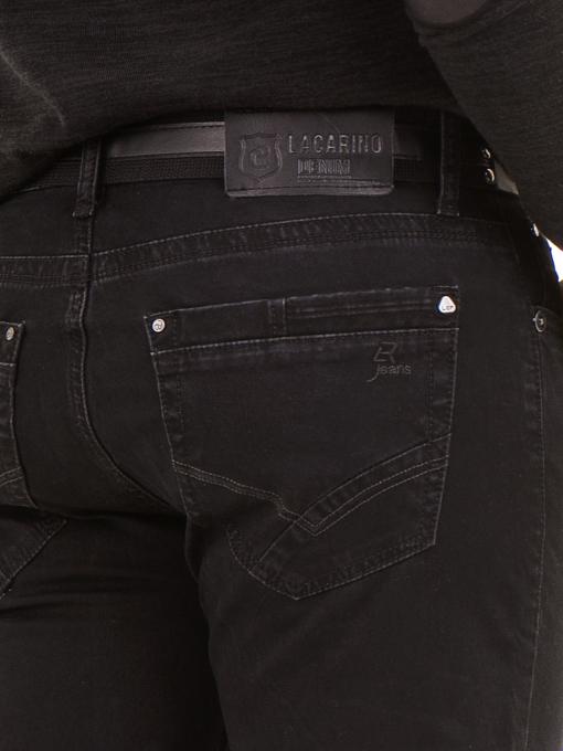 Класически мъжки дънки LACARINO 2085 с колан - черен деним D