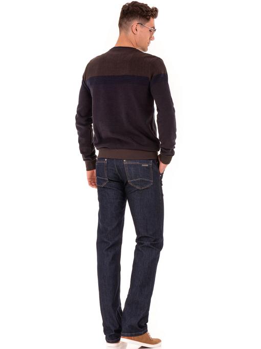 Мъжки класически дънки LACARINO 2678 с колан - тъмен деним E