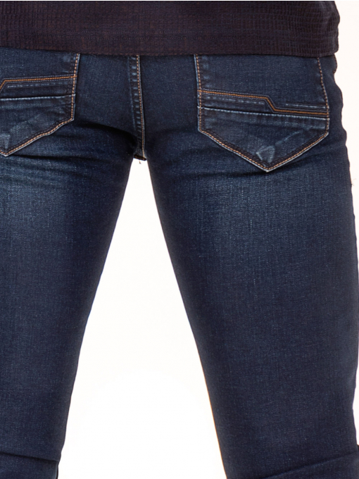 Мъжки класически дънки LACARINO 2858 с колан - тъмен деним D