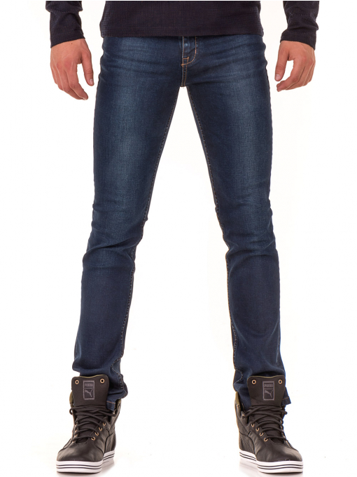 Мъжки класически дънки LACARINO 2858 с колан - тъмен деним