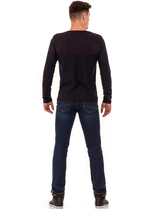 Мъжки класически дънки LACARINO 2858 с колан - тъмен деним E