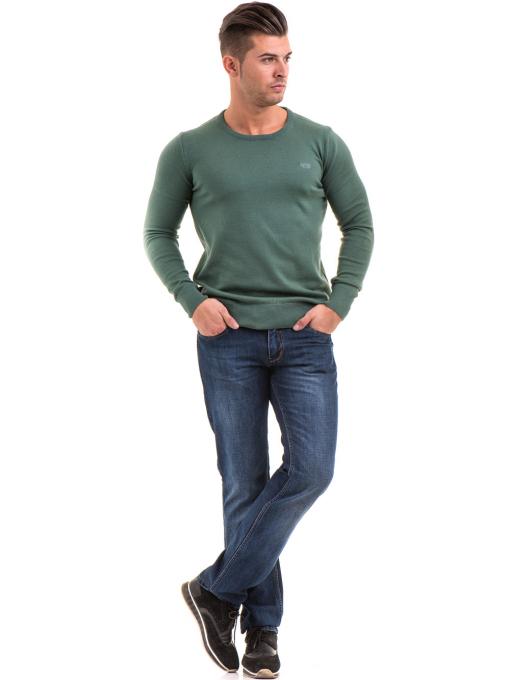 Мъжки класически дънки LACARINO 2888 с колан - тъмен деним C2