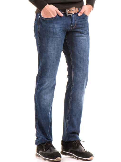 Мъжки класически дънки LACARINO 2888 с колан - тъмен деним
