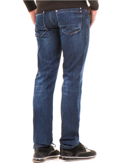 Мъжки класически дънки LACARINO 2888 с колан - тъмен деним B