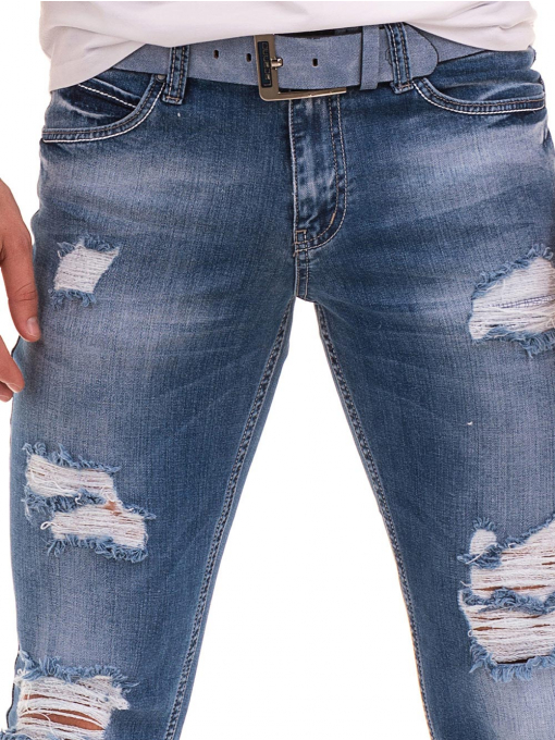 Мъжки накъсани дънки LACARINO 3156 с колан - деним D