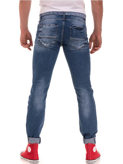 Мъжки накъсани дънки LACARINO 3156 с колан - деним B
