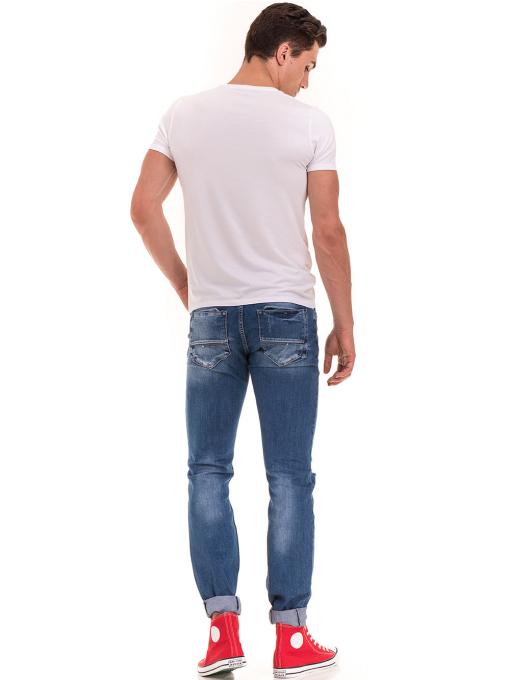 Мъжки накъсани дънки LACARINO 3156 с колан - деним E