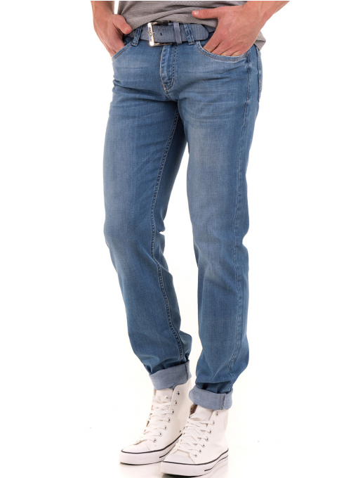 Мъжки класически дънки LACARINO 3271 с колан - светъл деним