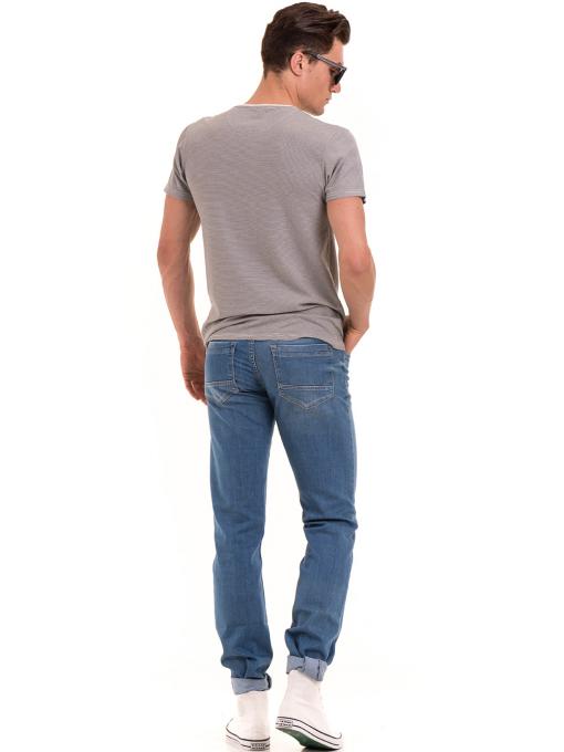 Мъжки класически дънки LACARINO 3271 с колан - светъл деним E