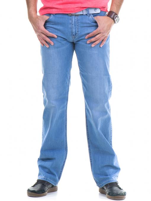 Мъжки класически дънки  LACARINO 3356 с колан - светъл деним