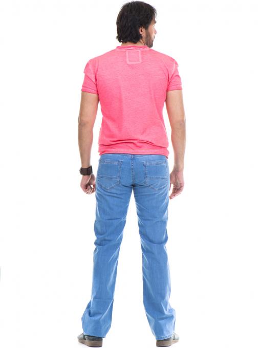 Мъжки класически дънки  LACARINO 3356 с колан - светъл деним E