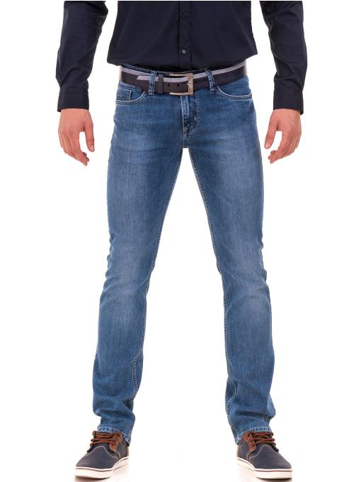 Мъжки класически дънки LACARINO 3800 с колан - деним