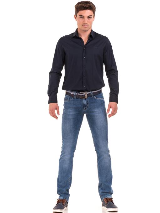 Мъжки класически дънки LACARINO 3800 с колан - деним C