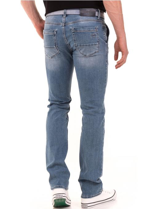 Мъжки класически дънки LACARINO 3861 с колан - светъл деним B