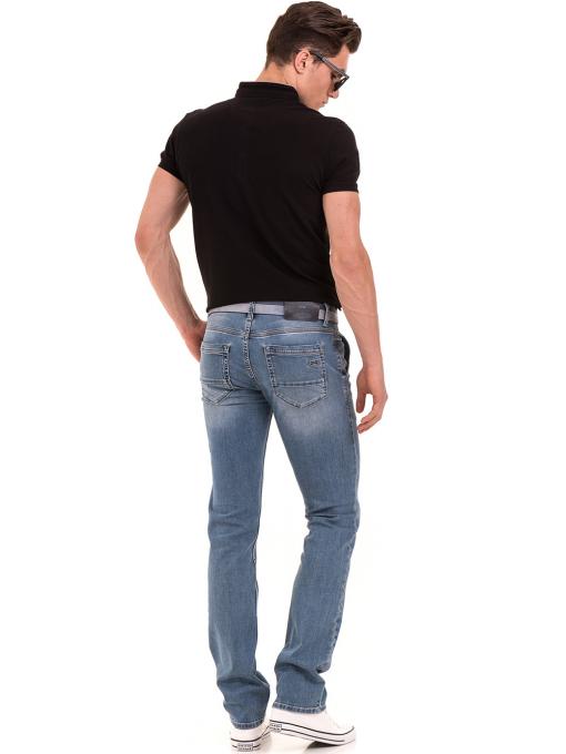 Мъжки класически дънки LACARINO 3861 с колан - светъл деним E