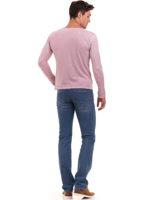 Мъжки класически дънки LACARINO 3880 с колан - светъл деним E