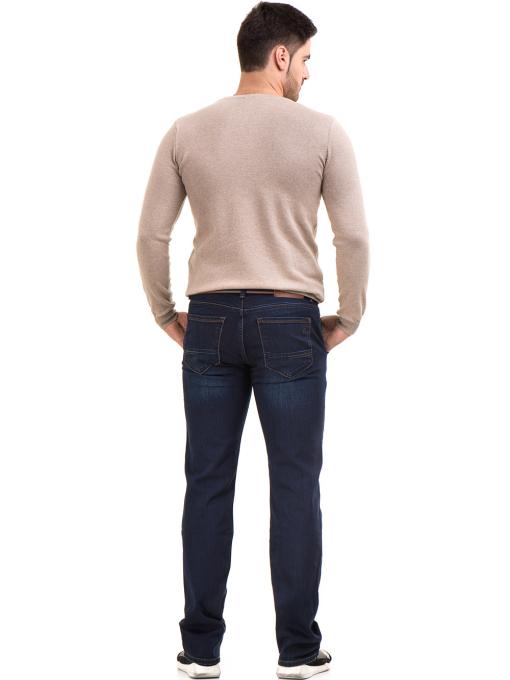 Мъжки класически дънки LACARINO 4042 с колан - тъмен деним E