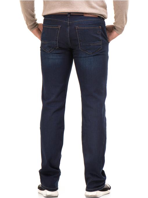 Мъжки класически дънки LACARINO 4042 с колан - тъмен деним B