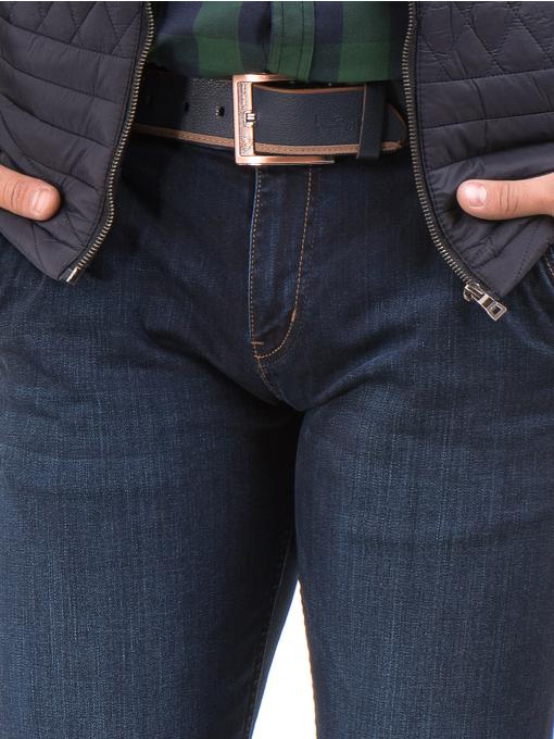 Мъжки класически дънки LACARINO 4042 с колан - тъмен деним D