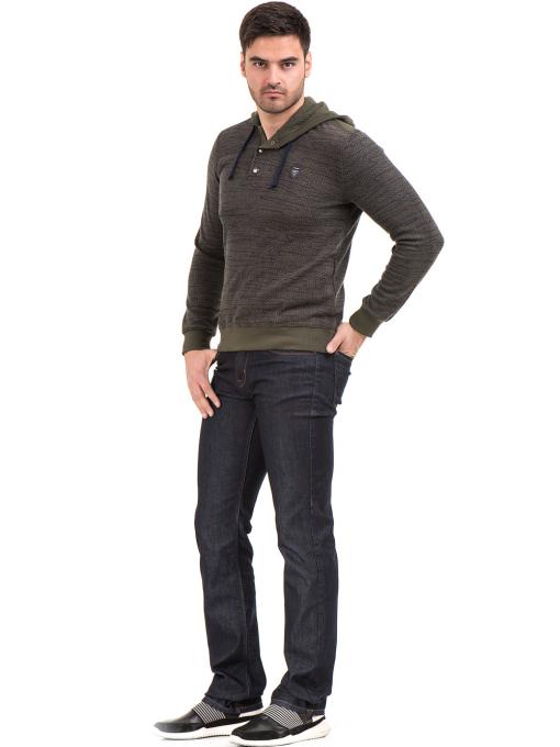 Мъжки класически дънки LACARINO 4154 с колан - тъмен деним C