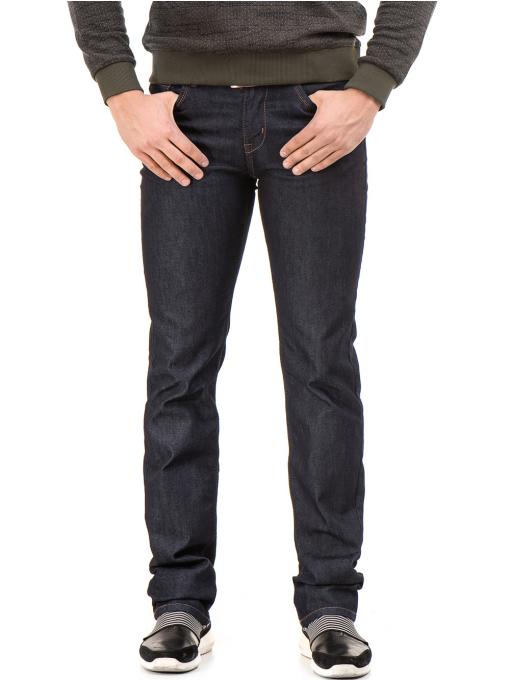 Мъжки класически дънки LACARINO 4154 с колан - тъмен деним