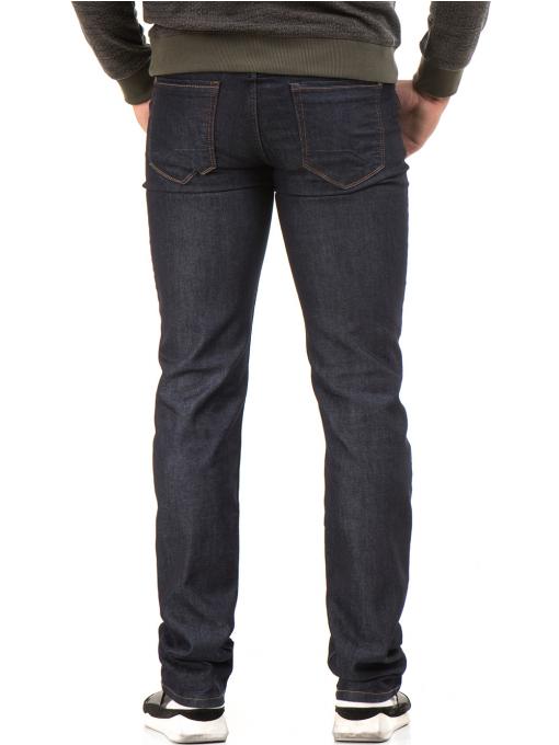 Мъжки класически дънки LACARINO 4154 с колан - тъмен деним B