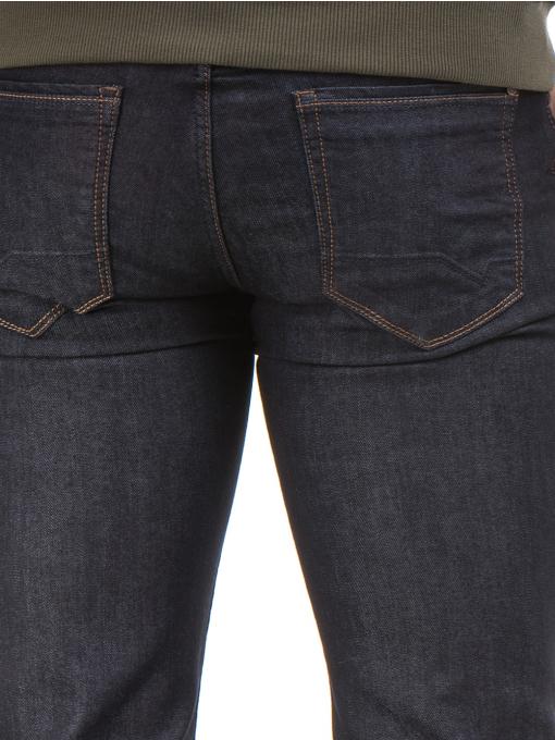 Мъжки класически дънки LACARINO 4154 с колан - тъмен деним D