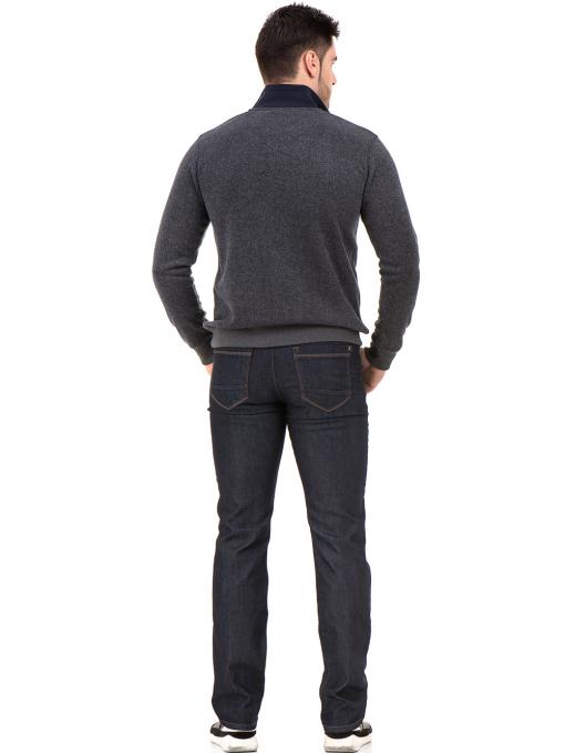 Мъжки класически дънки LACARINO 4156 с колан - тъмен деним E
