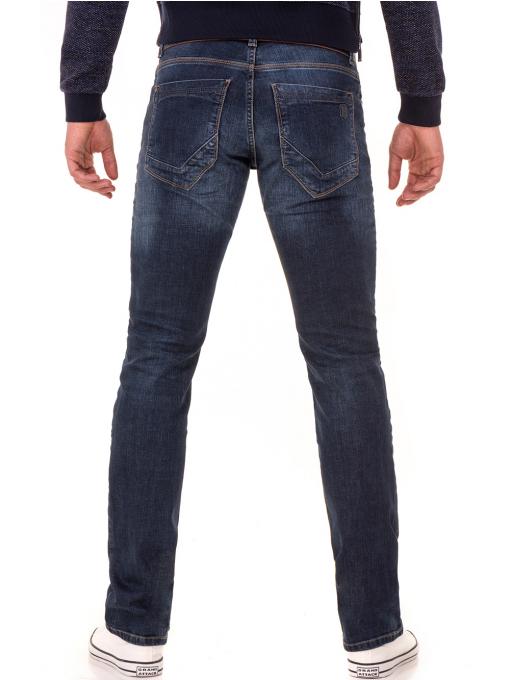 Мъжки класически дънки LACARINO 4181 с колан -тъмен деним B