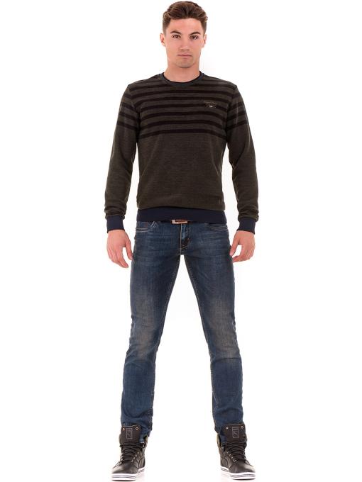 Мъжки класически дънки LACARINO 4182 с колан - тъмен деним C
