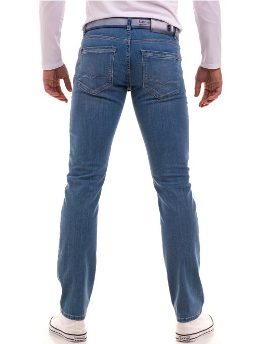 Мъжки класически дънки LACARINO 4498 с колан - светъл деним B