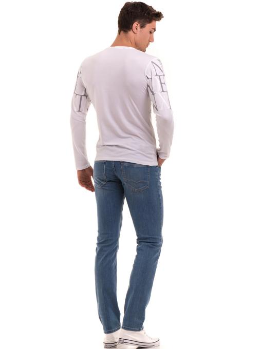 Мъжки класически дънки LACARINO 4498 с колан - светъл деним E